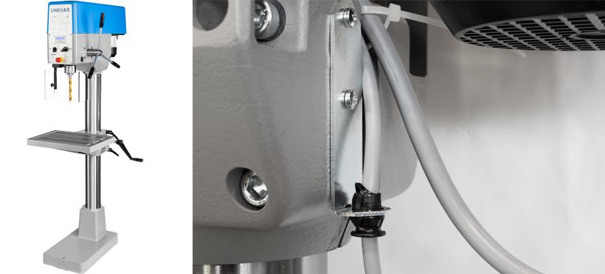 Kabelzugentlastung mit Biegeschutz in Säulenbohrmaschine