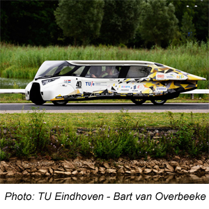 Innenliegendes Scharnier in einem Solarauto