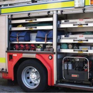 Teleskopschienen in Feuerwehrfahrzeug